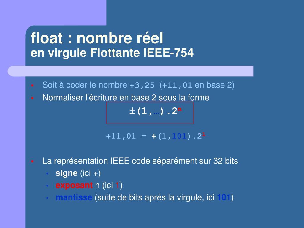 float : nombre réel