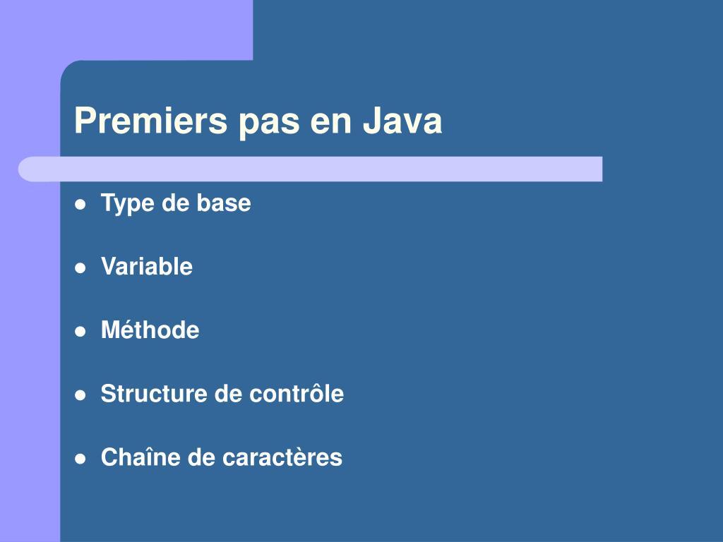 Premiers pas en Java