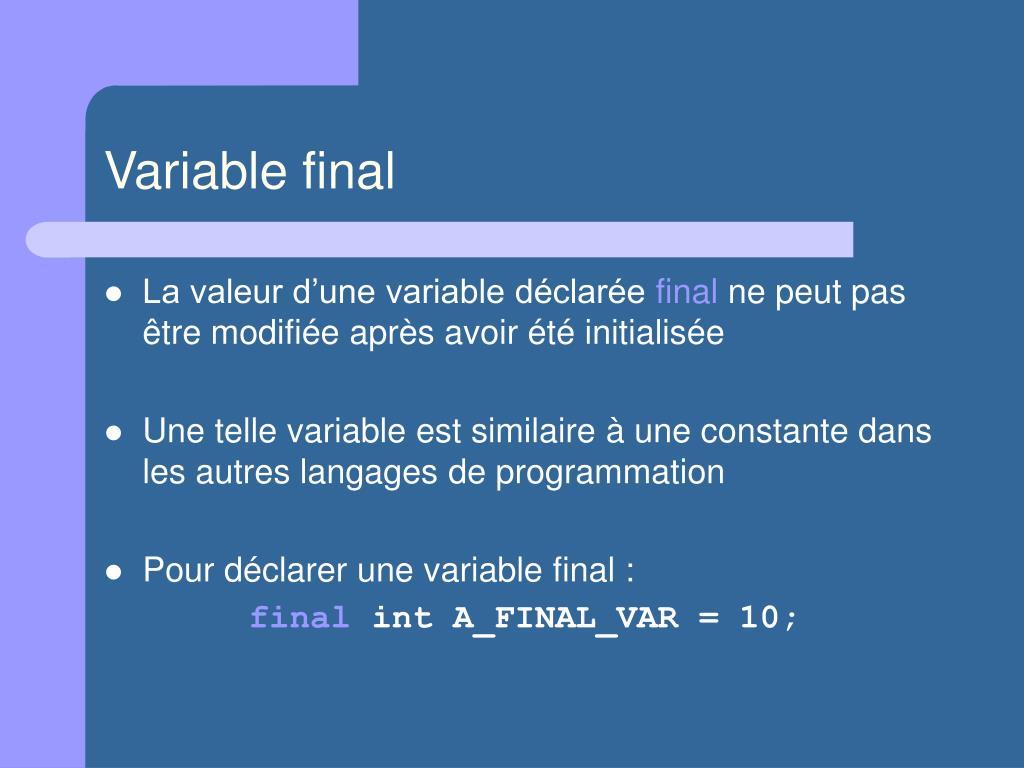 Variable final