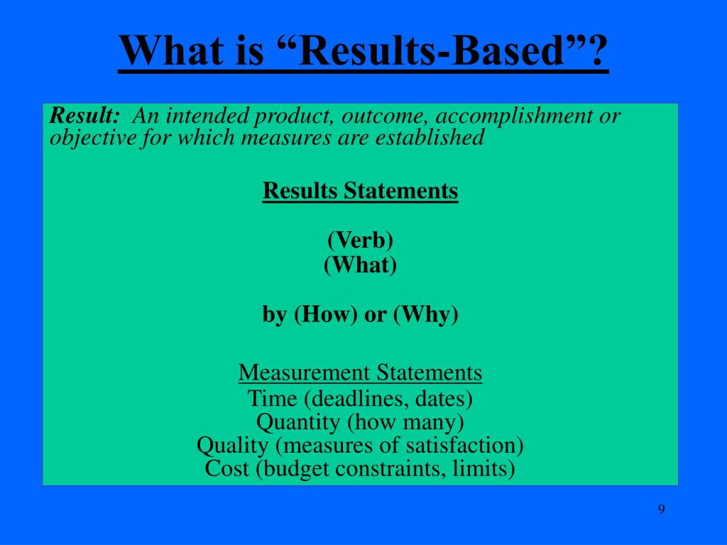 "What is ""Results-Based""?"