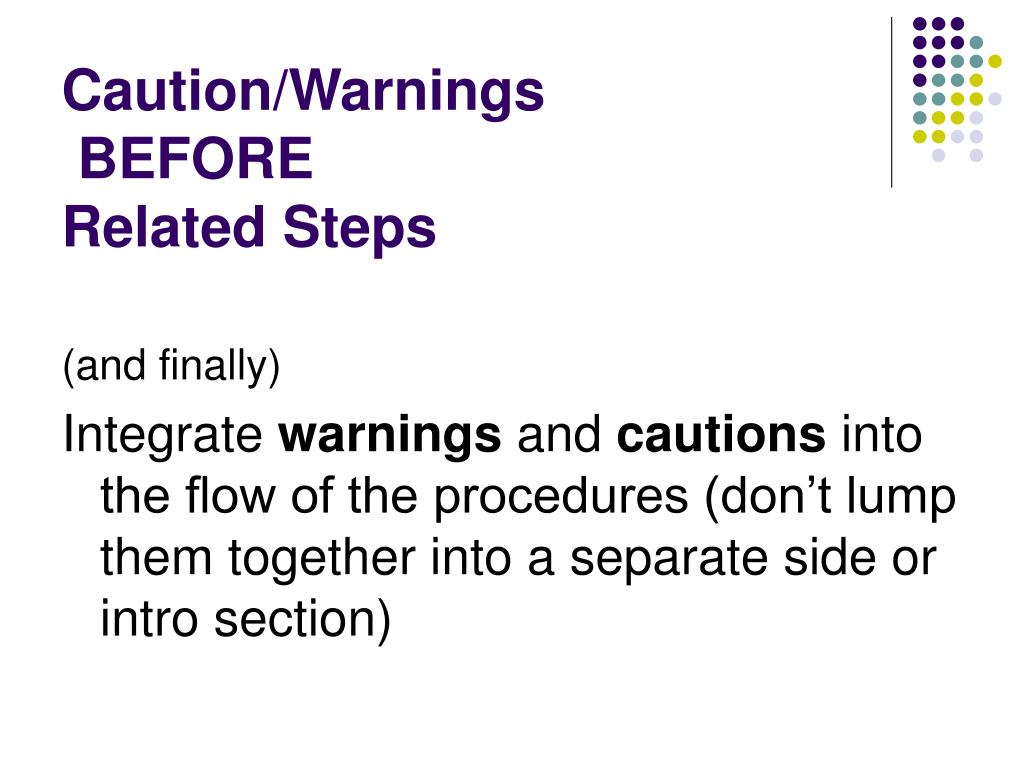 Caution/Warnings