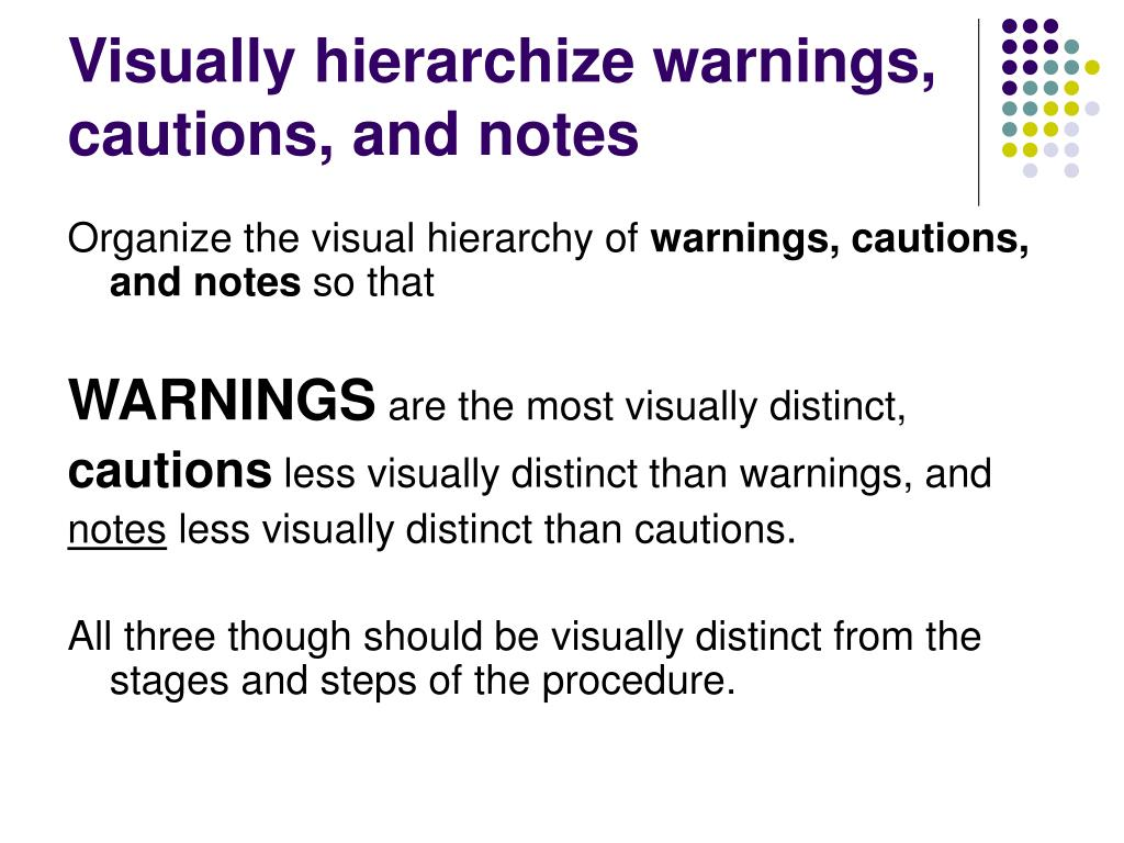 Visually hierarchize warnings, cautions, and notes