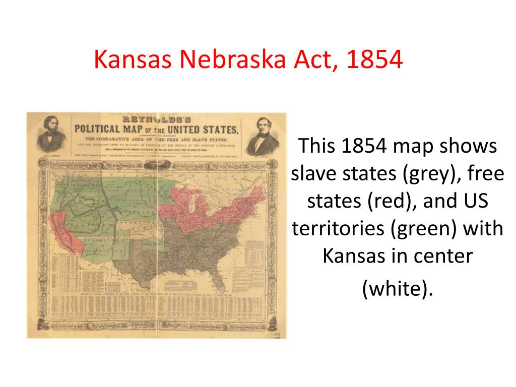 This 1854 map shows slave states (grey), free states (red), and US territories (green) with Kansas in center (white).