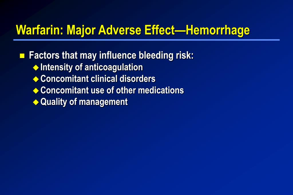 Warfarin: Major Adverse Effect—Hemorrhage