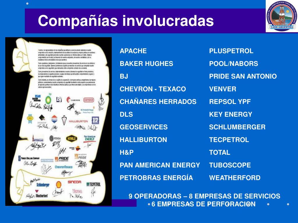 Compañías involucradas