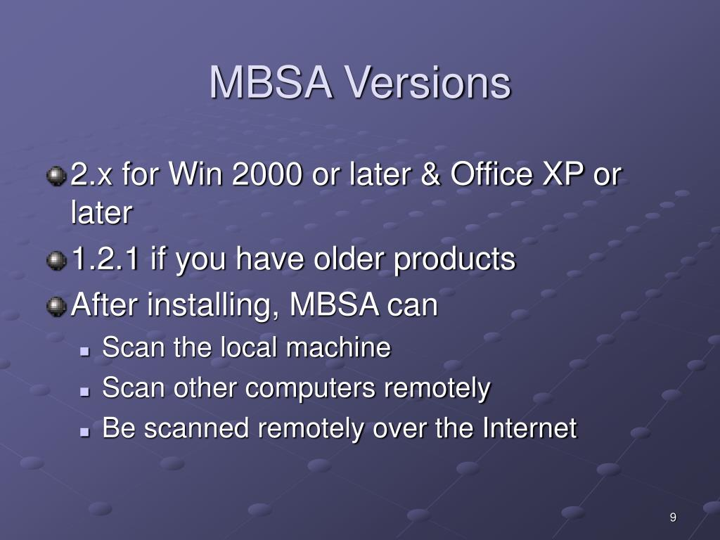 MBSA Versions