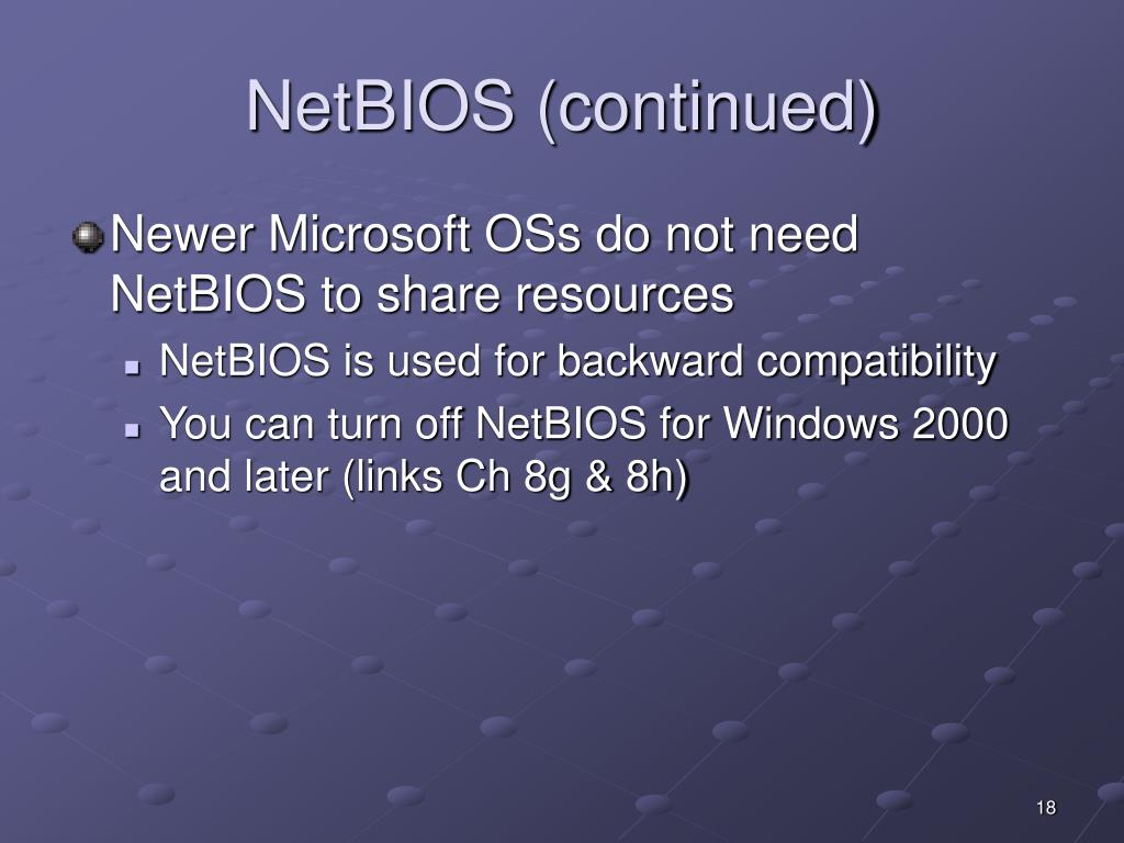 NetBIOS (continued)
