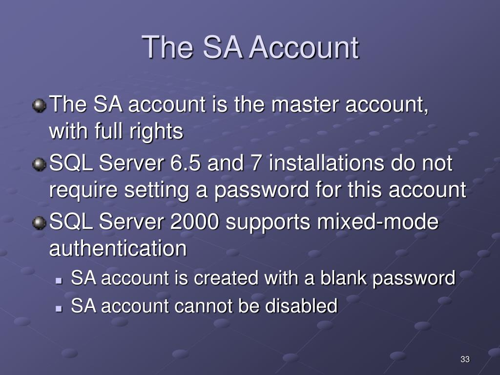 The SA Account