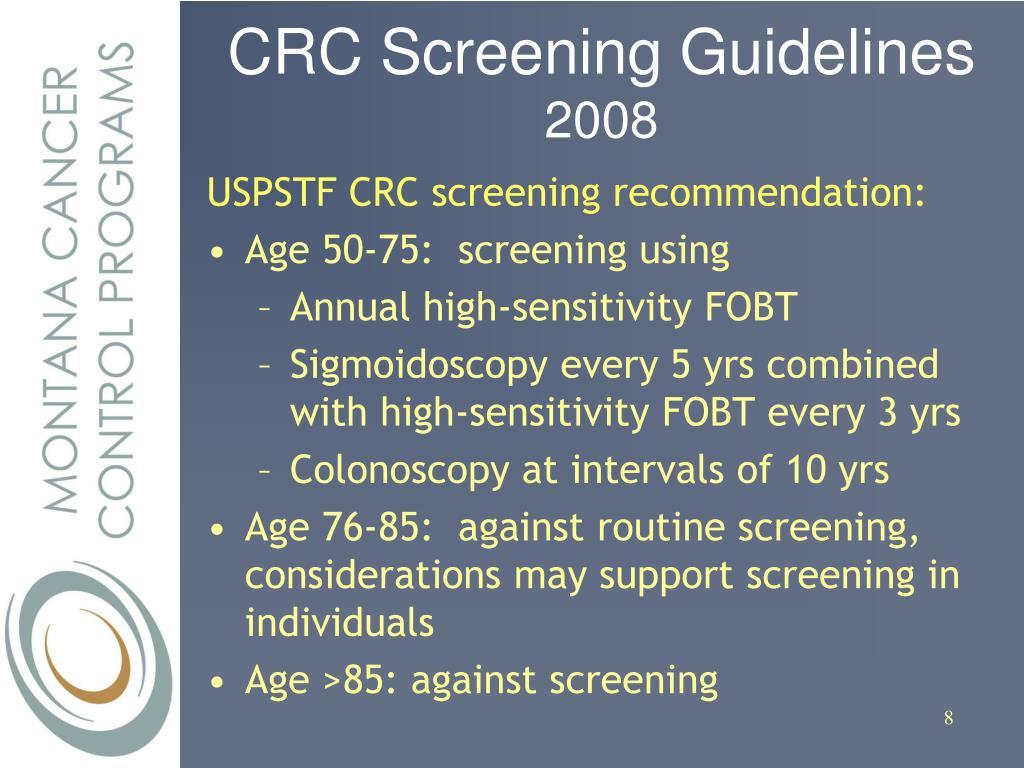 CRC Screening Guidelines