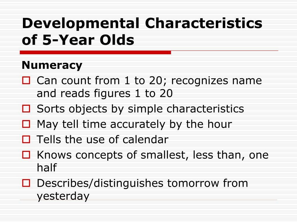 PPT - Developmental Characteristics of 5-Year Olds ...