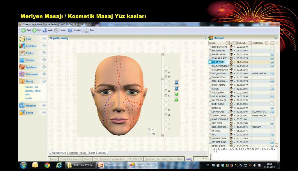 Meriyen Masajı / Kozmetik Masaj Yüz kasları