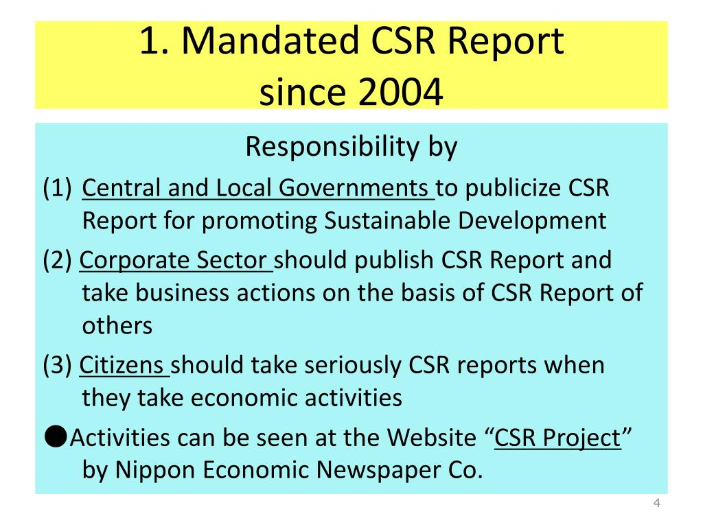 1. Mandated CSR Report