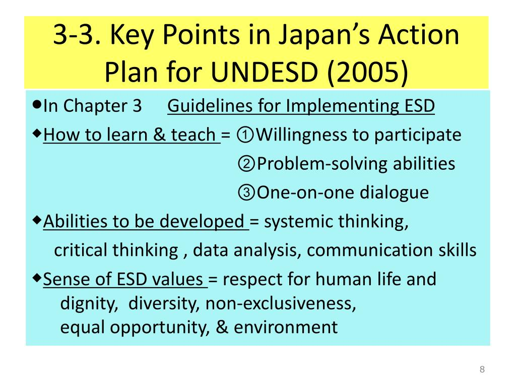 3-3. Key Points in Japan's Action Plan for UNDESD (2005)