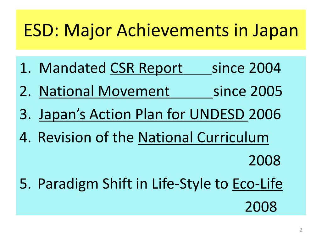 ESD: Major Achievements in Japan