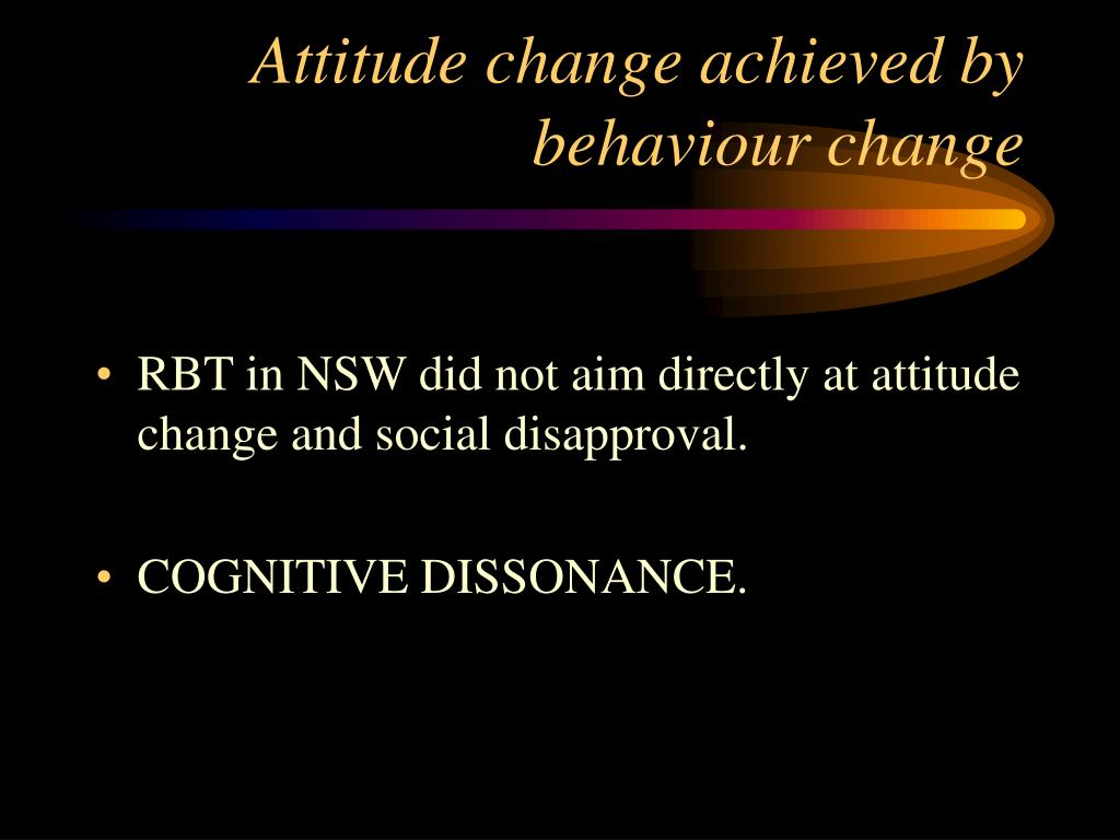Attitude change achieved by behaviour change