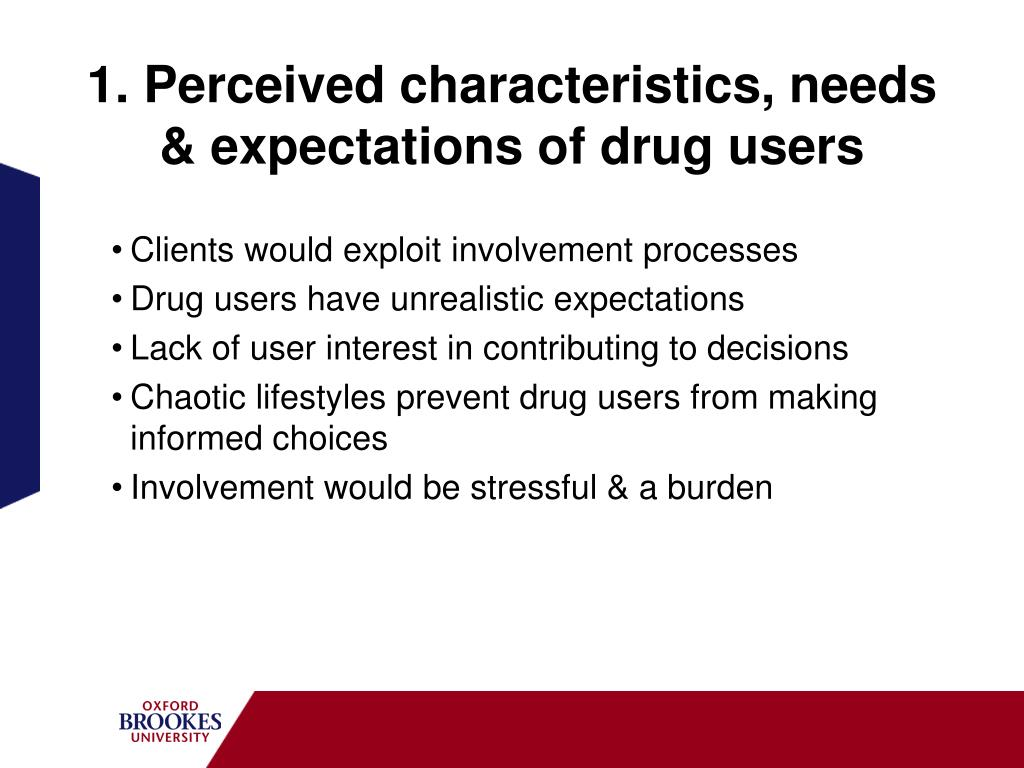 1. Perceived characteristics, needs & expectations of drug users
