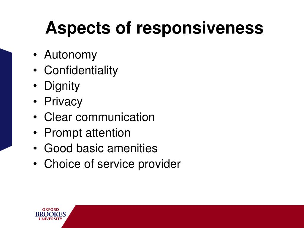 Aspects of responsiveness