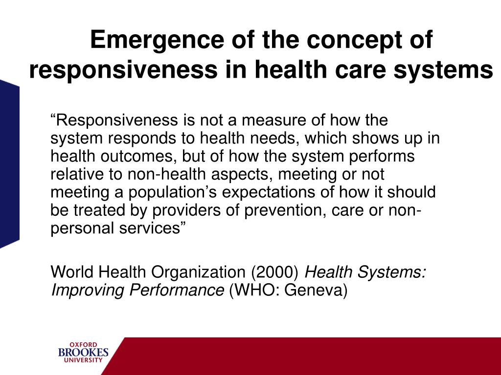 Emergence of the concept of responsiveness in health care systems