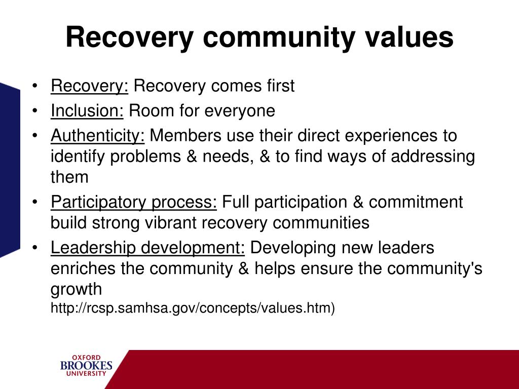 Recovery community values