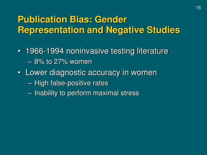 Publication Bias: Gender Representation and Negative Studies