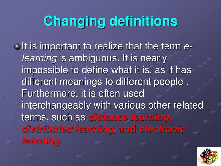 Changing definitions