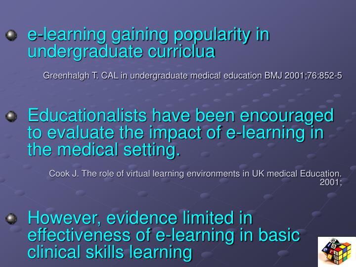 e-learning gaining popularity in undergraduate curriclua