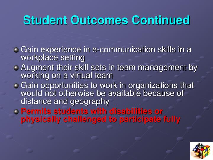 Student Outcomes Continued