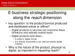 e business strategic positioning along the reach dimension