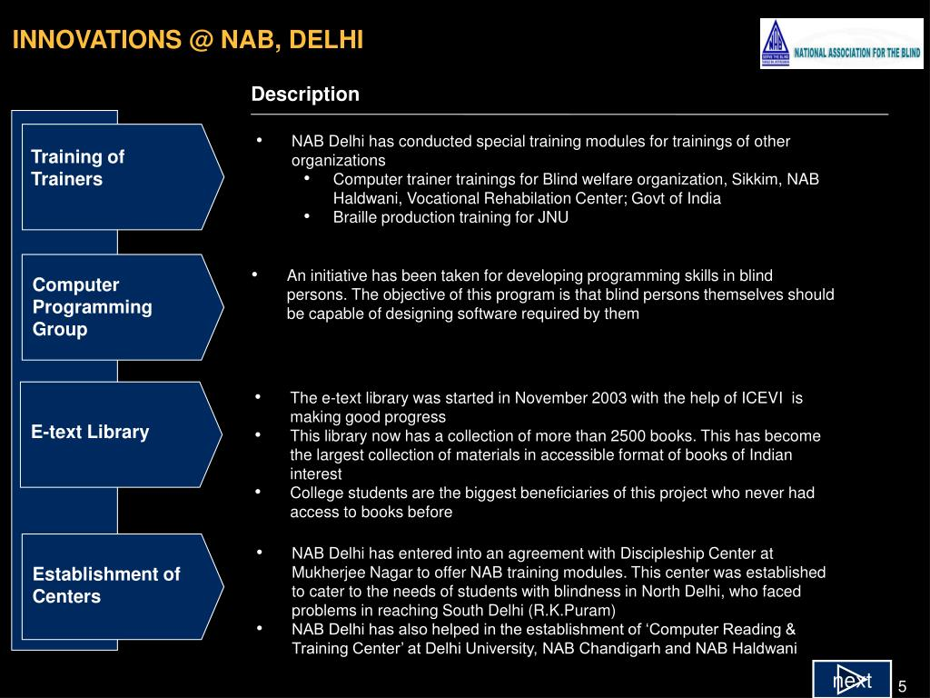 INNOVATIONS @ NAB, DELHI