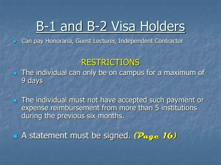 B-1 and B-2 Visa Holders