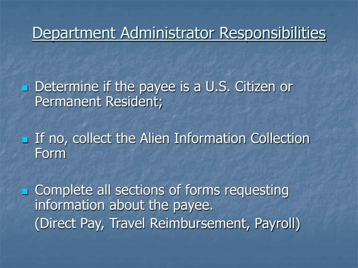 Department Administrator Responsibilities