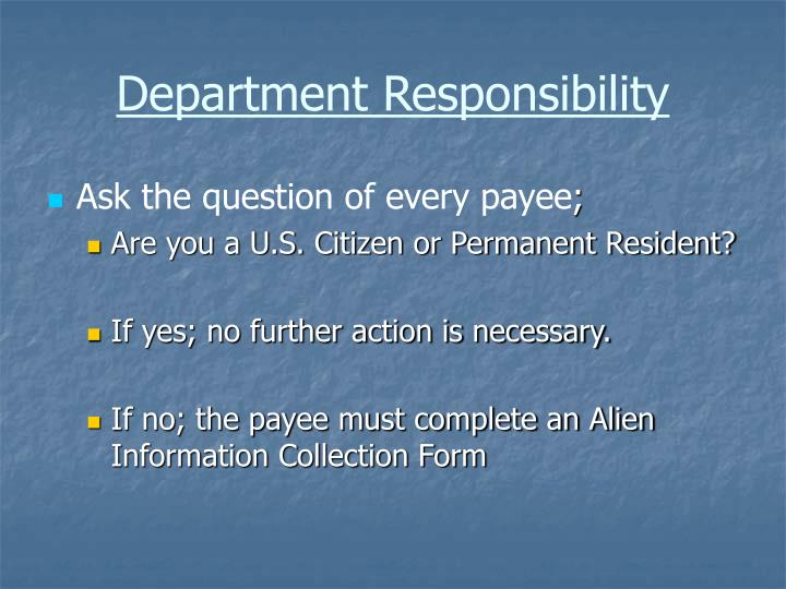 Department Responsibility