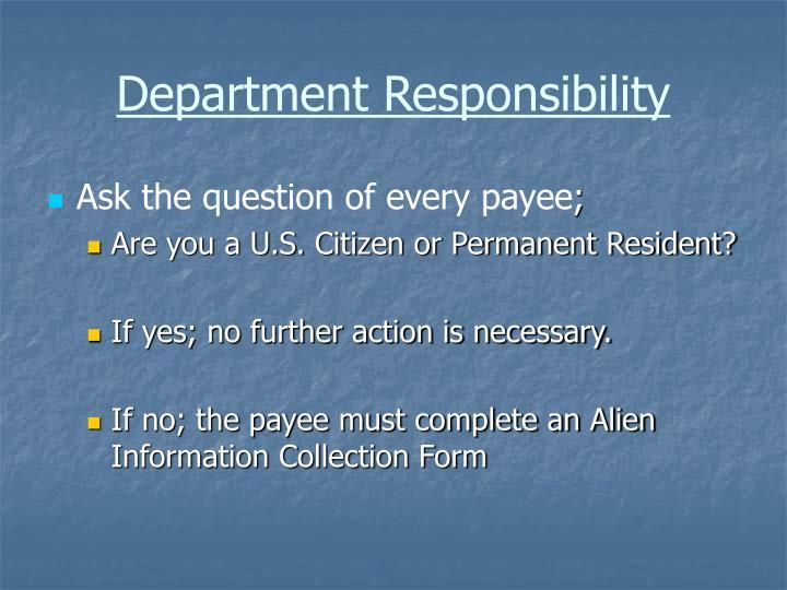 Department Responsibility