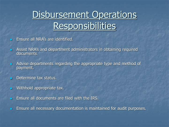 Disbursement Operations Responsibilities