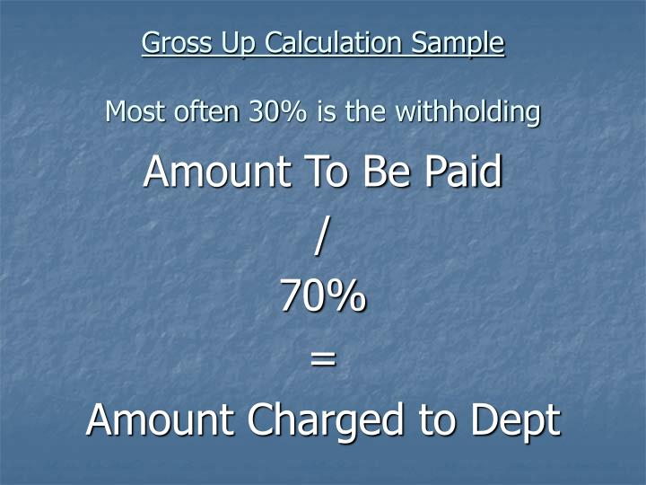 Gross Up Calculation Sample