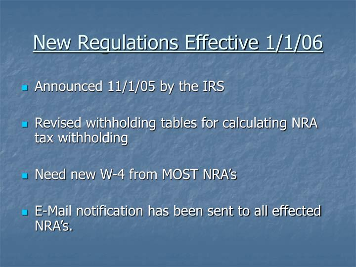 New Regulations Effective 1/1/06