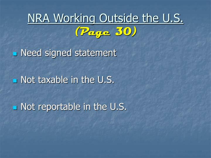 NRA Working Outside the U.S.