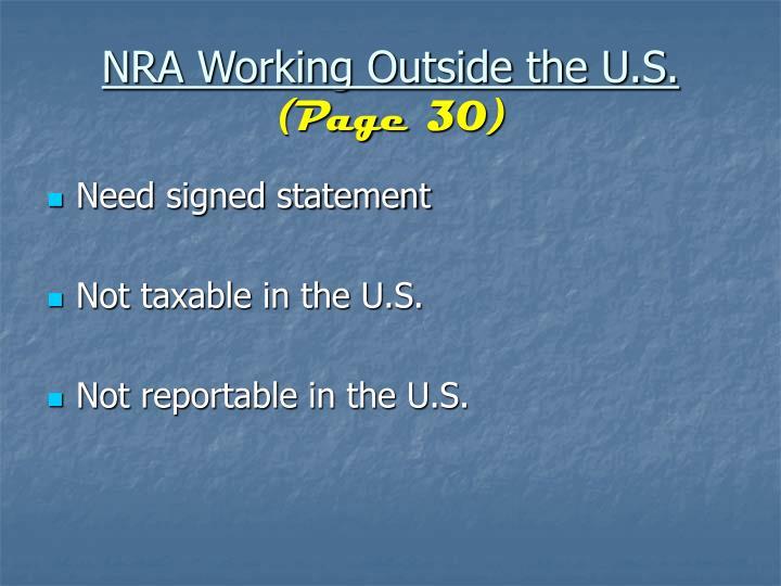 NRA Working Outside the U.S.