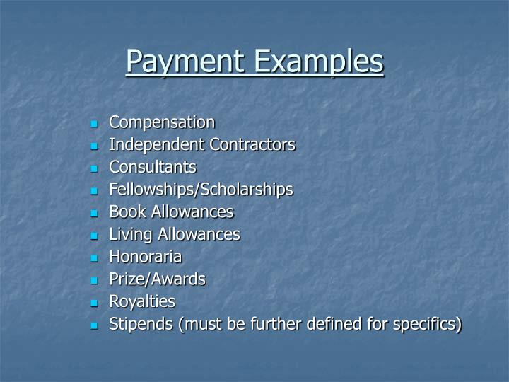 Payment examples