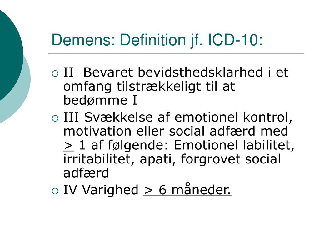 Demens: Definition jf. ICD-10: