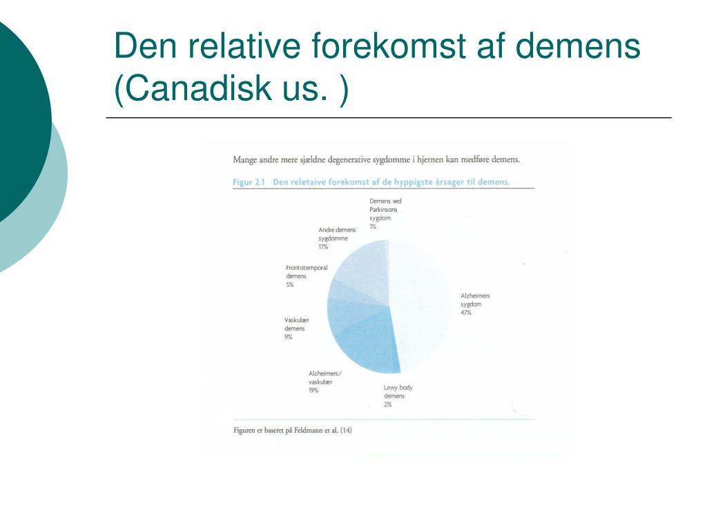 Den relative forekomst af demens (Canadisk us. )
