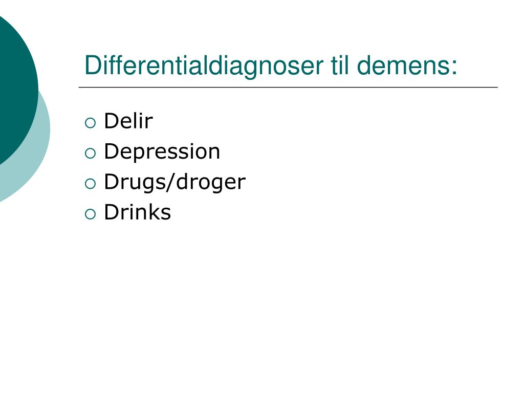 Differentialdiagnoser til demens: