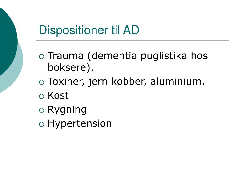 Dispositioner til AD
