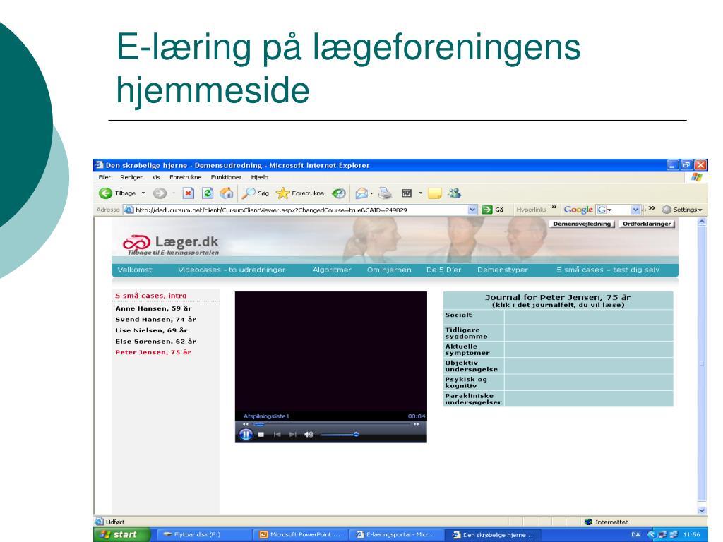 E-læring på lægeforeningens hjemmeside