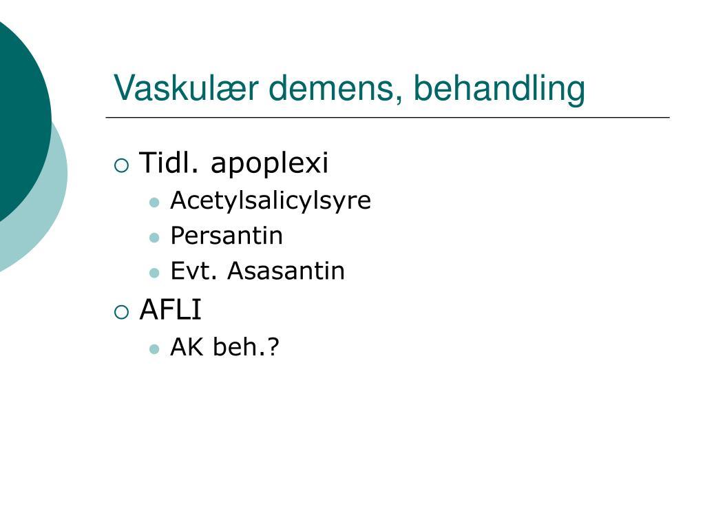 Vaskulær demens, behandling