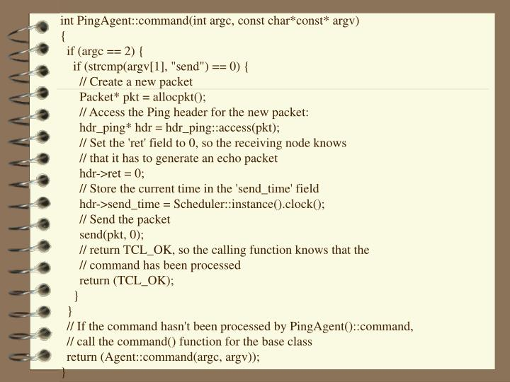 int PingAgent::command(int argc, const char*const* argv)