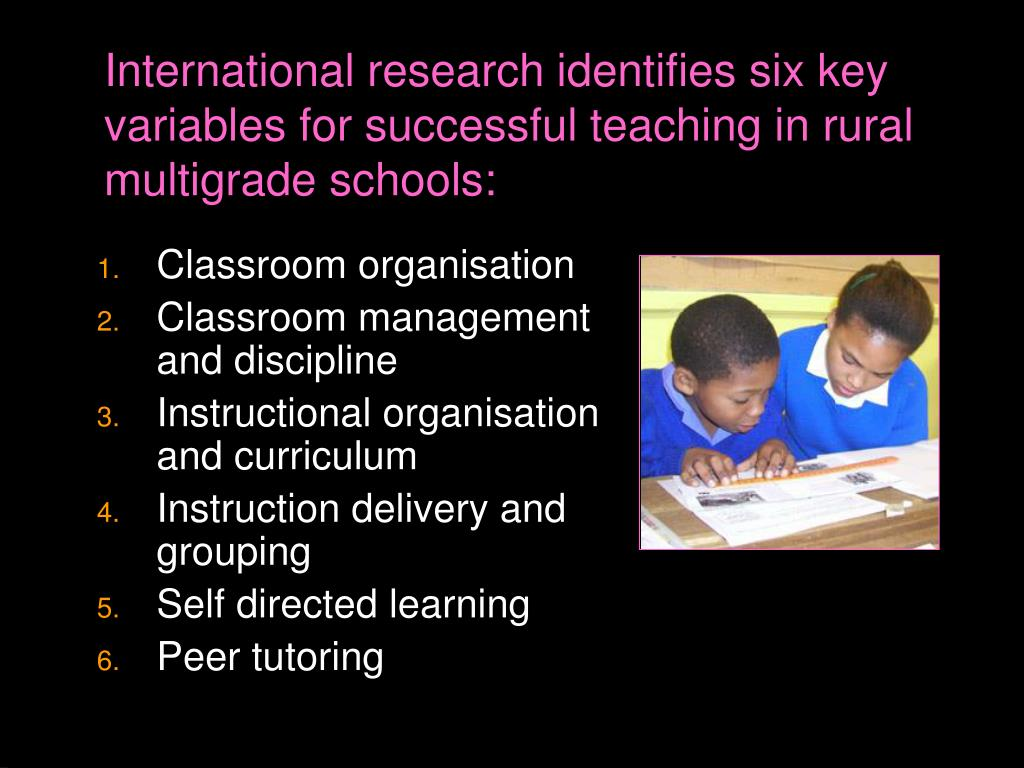 International research identifies six key variables for successful teaching in rural multigrade schools: