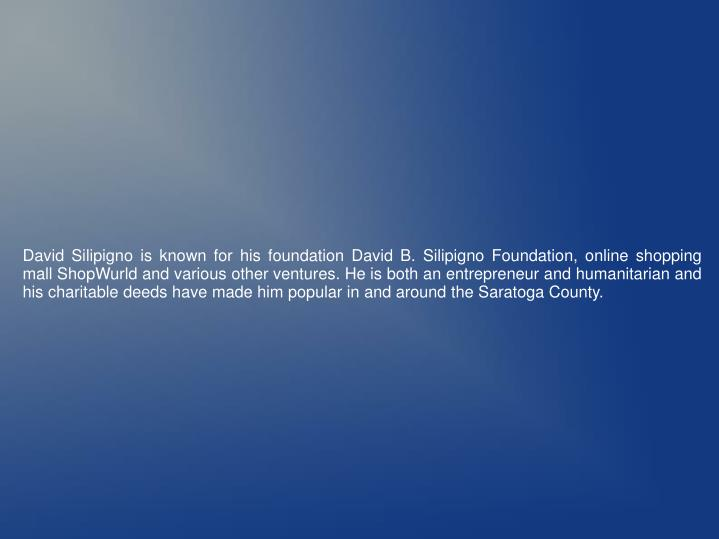 David Silipigno is known for his foundation David B. Silipigno Foundation, online shopping mall Shop...