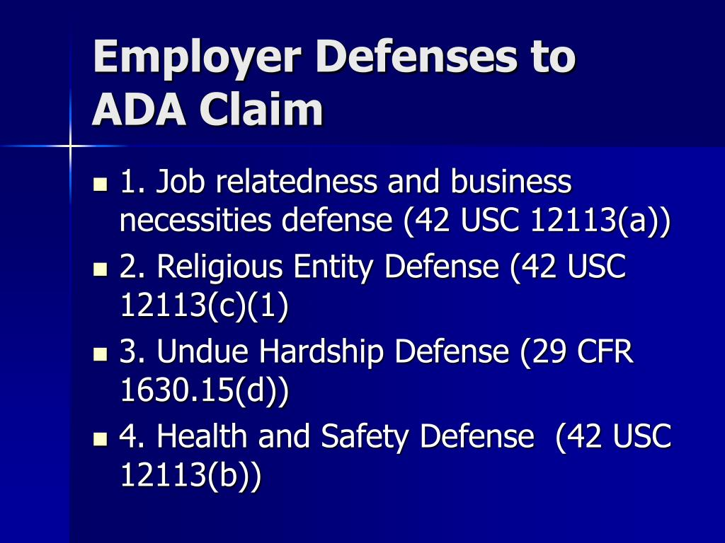 Employer Defenses to ADA Claim