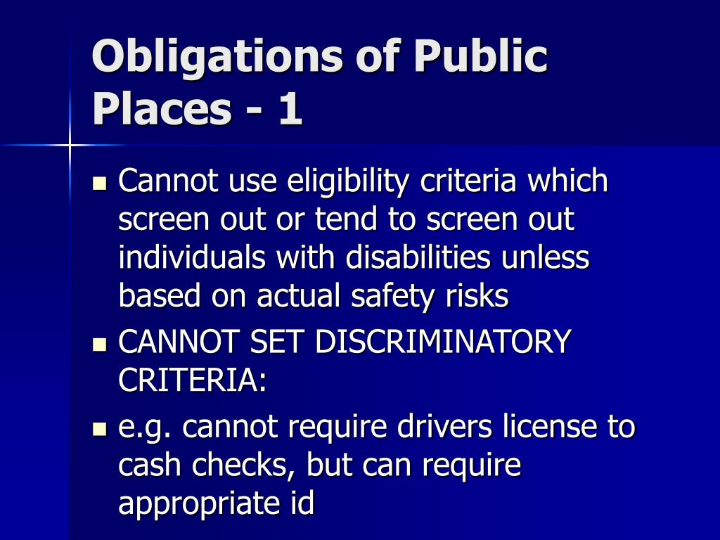Obligations of Public Places - 1